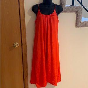 H and M Orange Midi Dress
